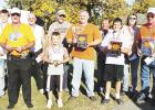"""Gonvick Pumpkin Day winners were front row from left to right: fifth place Marvin Marty, fourth place Trever Solberg, third place Bob Edevold, second place Dylan Owens and first place Juane """"Tucker"""" Johnson. Back row left to right: tenth place Reece Danielson, ninth place Dave Marty, eighth place John Johnson, seventh place Noel Wagner, and sixth place Lynn Flateland."""