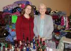 """This mother and daughter pair, Rachel Stevenson and Donna Larson, have been bringing their """"Bottle Bling"""" and """"Spoiled Rotten"""" displays to craft shows for 15 years. They will be going to Minot and Bismarck in the spring. They were to the Little Falls large craft show. They like to travel together and they said it is good bonding time for them.  One is from Winger and the other from Oklee."""