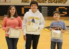 Spelling Bee winners from Clearbrook-Gonvick School were from left to right: Savanna Rankin, second place, Tristin Skinaway, 3rd place and John Devries first place. John will go on to competiton in Thief River Falls.