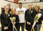 Seniors are Rachel Spray and her parents Dave and Lori and Madison Stenzel with her parents Tom and Cheryl.