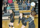 Alison Johnson, Madison Stenzel and Elizabeth Bodensteiner work the net. The Clearbrook-Gonvick Bears hosted the Red Lake Falls girls and won in four close games, 25-19, 20-25, 25-22, and 25-21.