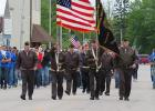 McIntosh VFW Post 6891 and the Win-E-Mac Marching Band during the parade on Memorial Day, Monday, May 29, 2017.
