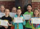 May Elementary Students of the Month: Pictured in the back: Emma Lindenfelser, Aliyah Ballard, Sydney Vakoch. Pictured in the Front: Ty Dyrdahl, Harleigh Seyller, Allison LaVine. Not Pictured: Colton Hammons.
