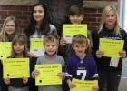 November Elementary Students of the Month: Pictured in front: Karli Dahlke, Parr Gustafson, Jacob Kumpula, Pictured in back: Alexa Anderson, Cecelia Midbo, Jaret Larson, Jacie Bergerson. Not Pictured: Brittany Thomas