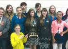 The Rebel Junior High Speech team placed second at their speech meet in Fisher. Those that participated from left to right: (back row) Tera Qualley, Jayden Iverson, Abby Walton, Allison Aakhus, Lily Guillemette, (front row) Grace Gieseke, Zoe Russillo (kneeling,) Jenna Pahlen, Jade Person, Sophie Linder, and DJ Bernstein.