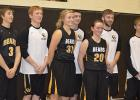 The Clearbrook-Gonvick senior basketball players were honored between games at a Friday night game. The annual event  acknowledges the time and effort put forth by those who have committed to the basketball program and lead their younger teammates. From left to right: Luke Burgess, Hunter Churness, Madison Stenzel, Eric Baanrud, Rachel Spray, Sam Lavin and Elliot Dickey.