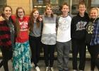 The students selected for the first quarter are:  (L to R) Grace Spry, Clavdia Anfilofieff, Katelyn Sanden, Gretchen Finseth, Noah Ostenna, Dylan Roy, Kendra Thompson. Congratulations!""