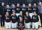 The RLCC girl basketball team at the Target Center where they played the Fosston Greyhounds. (Front) Brandie DeHate (Middle) Zoe Russillo, Hannah Kolstoe, Tanisha Srnsky, Billie Jo Gryskiewicz, Sydney Olson. (Back) Coach Mark Bagaason, Sarah Christensen, Kia Bachand, Jenna Pahlen, Marie Johnson, Calyssa Eskeli, Julia Bernstein, and Coach Mitch Bernstein.