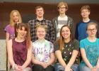 The cast of Something's Afoot, a musical that will be presented in a month at RLCC High School in Oklee. Front row: Sidney Melby, Hannah Kolstoe, Lilly Guillemette, and Kara Longtin. Back row: Jeremiah Rathsack, Nick Pahlen, Tom Nelson, and David Clifton.  Not pictured Dan Guillemette, Jade Person, Skyler Longtin.