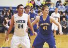 Ben Groven in the Chargers vs. Freeze game last Friday evening in Grygla. The GG Chargers lost 39-69.