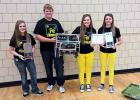 Team 4149C were named 'Tournament Champions' at their robotics competition in Albany last weekend. Team members, L-R, are McKayla Vad, Dustin Nelson, Kelly Dougherty and Trystan Jelle.