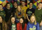 Front row, L-R: Ahna Stanley, Kia Klein, Emily Carlson and Chloe Osse. Back row, L-R: Sheldin Sundberg, Jackson Grossman, Anthony Englund, Reece Sundberg, Dane Arveson and Devon Dickson. (Absent was Tre Alten.) The 8th graders are pictured with their Art teacher, Betsy Saurdiff. Photo courtesy of Betsy Saurdiff