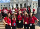 Elise Monson, second from the right, attended Girls State June 9-15 at Bethel University. While on her trip, she also visited the State Capitol. Photo courtesy of Elise Monson