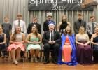 Royalty included, L-R: Tatum Carrlson and Allie Osse (7th grade), Cooper Walton and Riley Saurdiff (9th grade), Eli Sundberg and Hailey Knutson (10th grade), King Lucian Tinnes and Queen Sarah Suchoski (12th grade, front row), last year's King Peyton Verbout and Queen Abby Kiesow (12th grade, back row), Hudson McMillin and Bailey Watne (11th grade), Anthony Englund and Chloe Osse (8th grade).