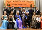 2015 Grygla Homecoming Court. Bottom row, L-R: Junior Alison Satre, First grader Autumn Osse, Senior Shantel Verbout, Senior Queen Maddy Bakken, Senior King Ty Jelle, Senior Samantha Kraulik, First grader Wade Tornow, Sophomore Brooke Limesand. Back row, L-R: Junior Tanner Anderson, Senior Jordan Hagen, 2014 King Chris Kiesow, 2014 Queen Leah Schulz, Senior Austin Brateng, Sophomore Antony Yip.