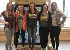 Mya Anderson, Chloe Kuznia, Hailey Knutson, Bailey Watne and Maci Bakken attended a youth gathering at Luther Crest Bible Camp in Alexandria, MN, on April 13-15.