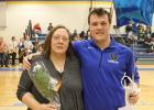 Goodridge Senior Aaron Jones with his mom Toni Jones.