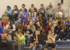 Goodridge/Grygla students combined for one last pep band performance in Grygla on Monday, March 4th, when the Chargers hosted the LOW Bears. Photo by Grygla Eagle Newspaper