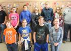 Candidates are, front row, L-R: Tatum Carlson and Allie Osse (7th grade), Anthony Englund and Chloe Osse (8th grade). Back row, L-R: Cooper Walton and Riley Saurdiff (Riley absent, 9th grade), Hailey Knutson and Eli Sundberg (10th grade), Bailey Watne and Hudson McMillin (11th grade), Sarah Suchoski and Lucian Tinnes (12th grade).
