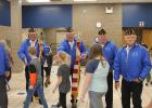 Pictured above, L-R, are veterans from American Legion Post #162: Danny Bragg, Raymond Benson, Lyle Nelson and Wayne Hanson. After the program, they lined up in the commons area for the students to greet them! Photo by Grygla Eagle Newspaper