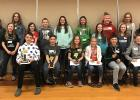 Standing, L-R: Aidan Carpenter, Julia Dostal and Josie Penas from Badger; Reagan Mimnaugh, Nick Lund and Tori Nelson from Marshall County Central; Berlyn Strege, Lancaster; Emily Johnson, Grygla; Olivia Vagle, Lancaster; Allie Sundberg, Grygla; Joie Stenmark, Lancaster; Anna Sundberg, Grygla. Seated, L-R: 1st place Liam Grover, Warroad; 2nd place Abram Hinson, Roseau; 3rd place Bryn Wilson, Roseau; 4th place Katy Comstock, Warroad; 5th place Chase Bachleitner, Roseau;  6th place Nixon Norman, Warroad.