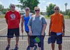 Pickleball tournament finalists were (l to r): Jason Jensen, Jamie Hoglo, Jessica Hofstad, Bob Melby.