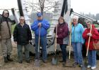 Kevin Beck of Clearwater Nursery did the heavy lifting, planting the linden tree with a tree spade. Nevertheless, Modern Woodmen members lined up with Beck for a ceremonial photo of planting the tree: (from left) Kevin Beck, John Hellquist, Harvey Sorenson, Cheryl Grover, Jeanette Shereck and Marlene Sorenson.
